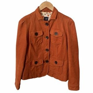 Gap burnt orange corduroy jacket size 0